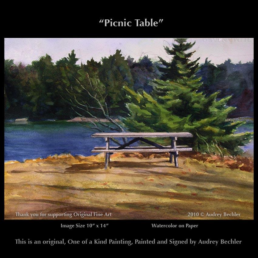 "Maine Coast ""Picnic Table"" Landscape Painting Bechler"
