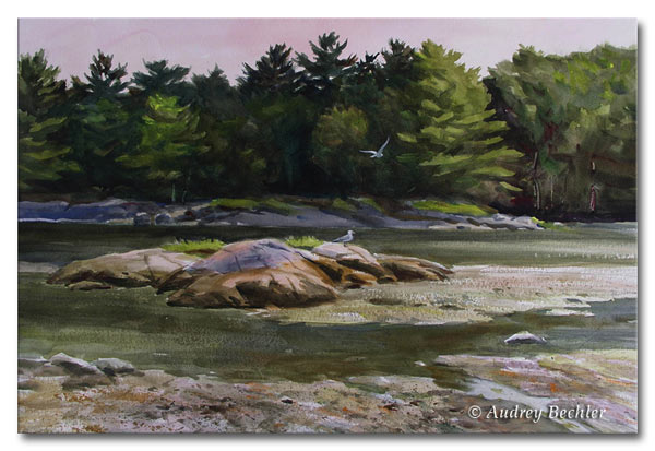 Rocks at Low Tide, Watercolor, Audrey Bechler Waldoboro, Maine