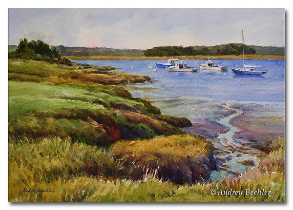 River Marsh II, Watercolor, Audrey Bechler Waldoboro, Maine