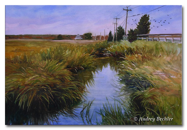 Plum Island Marsh, Watercolor, Audrey Bechler Waldoboro, Maine