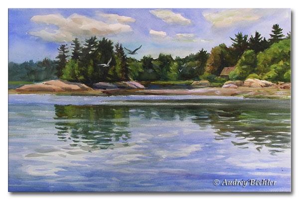 Island Reflections II, Watercolor, Audrey Bechler Waldoboro, Maine