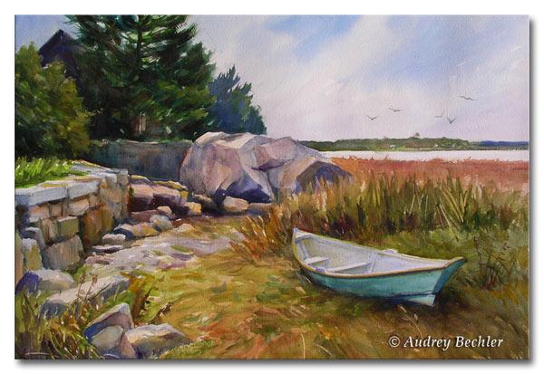 Green Dory, Watercolor, Audrey Bechler Waldoboro, Maine