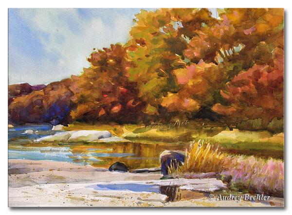 Fall Oaks, Watercolor, Audrey Bechler Waldoboro, Maine