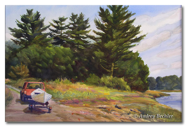After the Row, Watercolor, Audrey Bechler Waldoboro, Maine